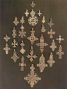 My dad bought my first Ethiopian cross from nomadic Somali herdsmen. Now it's a personal weakness! Cross Jewelry, Tribal Jewelry, Ancient Jewelry, Antique Jewelry, Ethiopian Jewelry, Ethiopian Beauty, Eritrean, Thinking Day, 3d Prints
