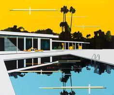 © Paul Davies ~ Yellow Sky, Blue Pool ~ 2010 acrylic on linen at Tim Olsen Gallery Sydney Australia