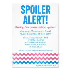 Gender Reveal Party Shower Invitation- Spoiler