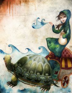 Aquarius water barer and her friend the Turtle (it's me and Rachel! My sign and her totem)