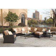 Darlee Vienna Wicker 9 Piece Outdoor Sofa Set in Espresso