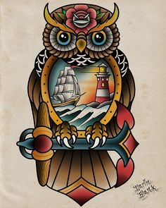 """18 Likes, 2 Comments - Darin Blank (@darinblanktattoos) on Instagram: """"Nautical owl! This design is already booked but I'm always drawing up more.…"""""""