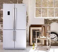 Smeg American Style Fridge Freezer, A+ Energy Rating, Wide, White Refrigerator, Fridge Shelves, Black Ovens, Storage Life, White Fridges, Smeg, American Style Fridge Freezer, 4 Door Fridge, Rustic House