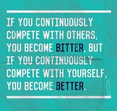 #Truth..  Never compare yourself to anyone. We all have different struggles and success in life. Comparing won't certainly make you or the situation any better.