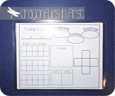 Dragonflies in First: Calendar Math FREEBIE. They get a marker and use the laminated cardboard page to write on and then they erase as they do the calendar and then clean up. First Grade Calendar, Calendar Time, School Calendar, Kids Calendar, Calendar Ideas, Morning Calendar, Classroom Calendar, Daily Calendar, Free Calendar