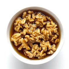 Walnuts are brain food. Soaked in pure maple syrup, they make a sweet snack alone or dessert topping. Recipe from @Bonnie Helton Appetit found at www.edamam.com