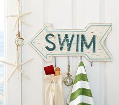 Swim Hook Sign #PotteryBarnKids.  I need this for the pool.