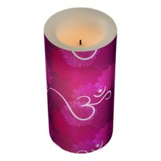 #Indian ornament pattern with ohm symbol flameless candle - #candle #candles #special #custom