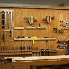 This tool wall, with plane and saw tills, replaces pegboards and random drawers and cabinets scattered all over the shop. Now everything is visible right there next to me, no hunting aroundDetails...