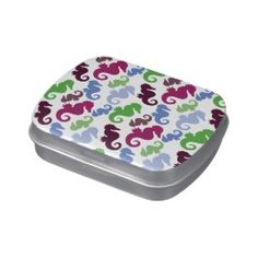 Seahorses Pattern Nautical Beach Theme Gifts Jelly Belly Candy Tins
