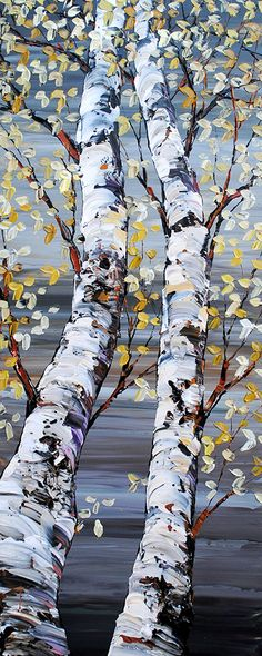 Maya Eventov Acrylic Painting Techniques, Art Techniques, Landscape Art, Landscape Paintings, Art Et Nature, Birch Tree Art, Acrylic Art, Art Lessons, Watercolor Paintings