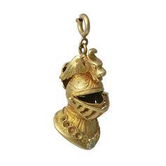 Vintage 18K Gold Knight's Head Charm Pendant, c. 1960s. $550