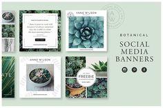 Botanical Social Media Banners - Web Elements socialmedia  / templates / instagram / pinterest / facebook / twitter / design / post / mockup / web / webdesign / socialdesign / lifestyle