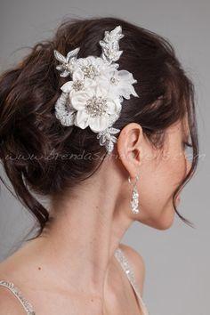 Bridal Head Piece, Ivory Silk Flowers and Lace, Birdcage Fascinator - Keysha. $59.95, via Etsy.