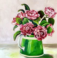 Camelia and Green Jug – Ali Wood Artist