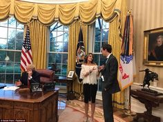 Sarah Palin, was later seen chatting with Jared Kushner in the Oval office. White lace off shoulder top, black skirt, nude open-toe mules. John Trump, Donald Trump, Jared Kushner, Sarah Palin, Oval Office, 2016 Presidential Election, Kid Rock, Hockey Mom, Off Shoulder Tops