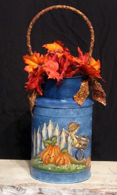 Milk Can Fence Scarecrow Pumpkins Hand Painted by KathysKountry