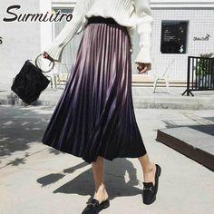 1296d2fca6768 Surmiitro Gradient Velvet Skirts Women 2018 Autumn Winter Midi Long Korean Elegant  High Waist Pleated A