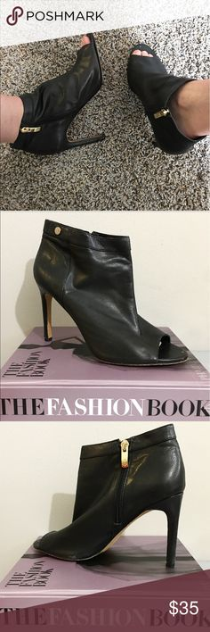 Vince Camuto Peep toe Leather Booties Super easy to walk in Vince Camuto Shoes Ankle Boots & Booties