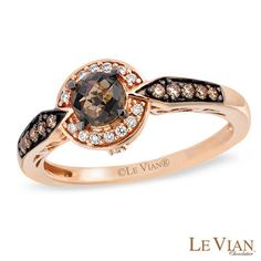 Le Vian® Chocolate Quartz® and 1/6 CT. T.W. Diamond Ring in 14K Strawberry Gold® - View All Rings - Zales