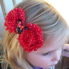 Shabby Chic Miss Minnie Head Boutique Hair Bow
