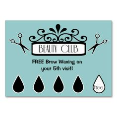 Salon Loyalty Punch Cards beauty club Business Card. Make your own business card with this great design. All you need is to add your info to this template. Click the image to try it out!