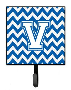 Letter V Chevron Blue and White Leash or Key Holder CJ1045-VSH4