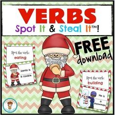 FREE!! This is an engaging way to teach VERBS! My Spot It and Steal It games keep all players engaged 100% of the time. Once a card is read, all players are on the look-out to see who has the card.. if you SPOT it... you can STEAL it! The player with the most cards at the end of the game, WINS!