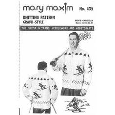 Knit a men's cardigan using Mary Maxim worsted yarn. Knitting Patterns, Knitting Ideas, Cardigan Pattern, Pattern Books, Needlework, Mary, Sewing, Ski, Amazing