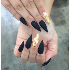 Black matte gold leaf foil nail art
