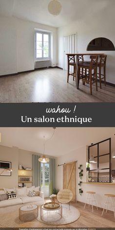 Projet 3D Avant / Après. Un superbe salon style déco ethnique ! #déco #ethnique #salon #3D