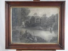 19th c Sandpaper Or Marble Dust Drawing ,in a Walnut Frame : A Man with a Guitar,on the banks of a stream.