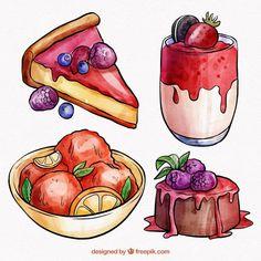 Sweet Drawings, Cartoon Drawings, Easy Drawings, Candy Drawing, Food Drawing, Cute Food Art, Cute Art, Watercolor Food, Watercolor Illustration