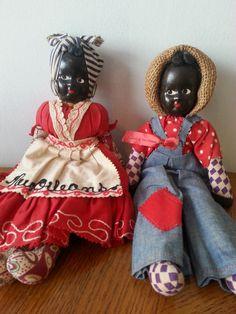 Vintage Black Americana New Orleans Souvenir Doll Set, Cloth Bodies, Plastic Hand painted faces