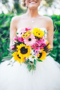 Pretty bouquet of yellow sunflowers and pink gerber daisies etc. ~ we ❤ this! moncheribridals.com