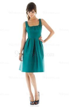 Modest Draped A-line Knee Length Zip up Satin Bridesmaid Dress