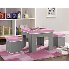Altra Folding Pink and Grey Kids Table/ Ottoman Set by Cosco