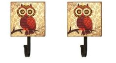 Set of 2 Big Eyes Owl Wall Hooks - Retro Owl
