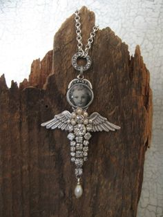 Tenderly... vintage angel assemblage necklace