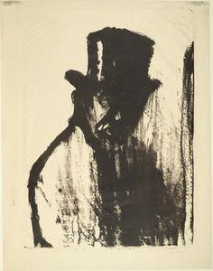 Man in a Top Hat I (Mann im Zylinder I) Emil Nolde (German, 1867-1956)  (1911). Lithograph, composition #tophat #Emil #Nolde