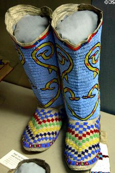 Native American Moccasins for Women | Kiowa beaded women's leggings & moccasins (c1925) at Dakota Discovery ...