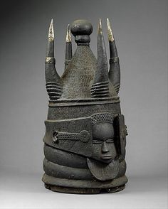 Africa | Helmet Mask from the Mende or Sherbro people of the Moyamba region of Sierra Leone. | ca. 19th 0 20th century | Wood and metal