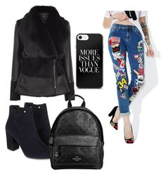 """All black with a touch of paches"" by dramasqueen on Polyvore featuring Monsoon and Coach"