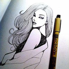 Micron Pen sketch of a girl hair eyes shoulder arm mouth