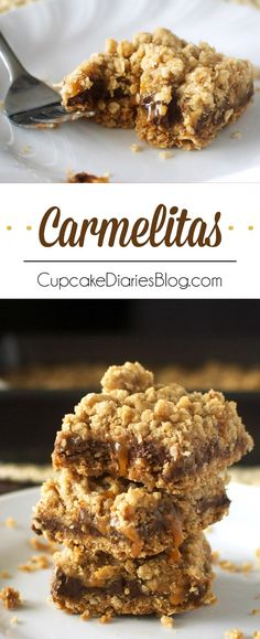 Carmelitas - Chewy dessert bars filled with rich chocolate, caramel, and oats. These are amazing!!
