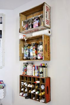 & after: garage studio love these crate shelves, but i think i can only do that on a white walllove these crate shelves, but i think i can only do that on a white wall Old Crates, Wooden Crates, Vintage Crates, Wooden Boxes, Wine Crates, Cheap Crates, Vintage Coke, Wooden Rack, Craft Room Storage