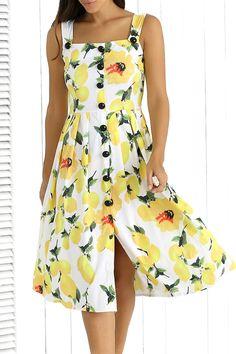$14.43 Stylish Straps Single-Breasted Lemon Print Women's Dress - Yellow
