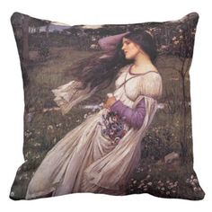 Windflowers-by John William Waterhouse 1902 Outdoor Pillow - classic gifts gift ideas diy custom unique