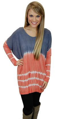 Ridiculously soft tunic with a trendy dip dye fabric! The longer length makes this a perfect choice for pairing with leggings! $44 www.shopbluedoor.com