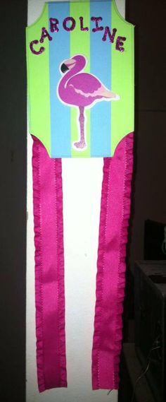 Flamingo Bow Holder.  Personalized and Made to Order.  www.facebook.com/littlehandscreations